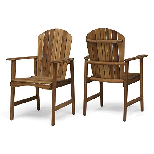 Easter Outdoor Weather Resistant Acacia Wood Adirondack Dining Chairs (Set of 2), Natural Finish