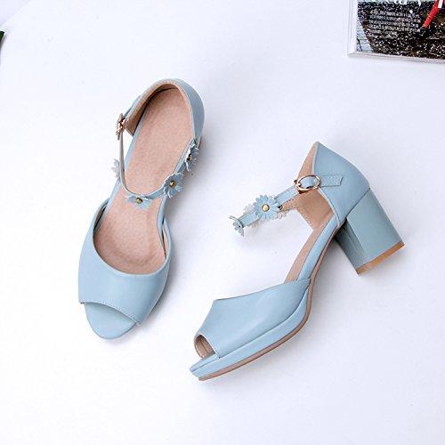 Tacón Verano Chica azul El En De Alto Zapatos El Sandalias Hermana Ranurada Suaves Grueso Lazo Sandalias GAOLIM La 0TSBnwqx