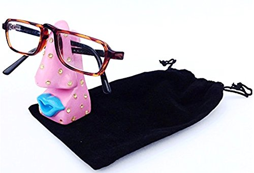 Pink Bling Unique Decorative Novelty Rhinestone Eyeglass Holder & Velour Gift - Glasses Decorative Reading