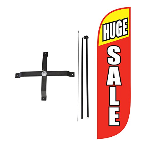 (LookOurWay Huge Sale Red & Yellow Feather Flag Complete Set with Poles & X-Stand, 5-Feet)