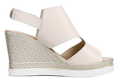 Solid EGHLH005629 and Beige Toe Pu Sandals Heels Loop WeiPoot Hook High Women's Peep HfqH0EP