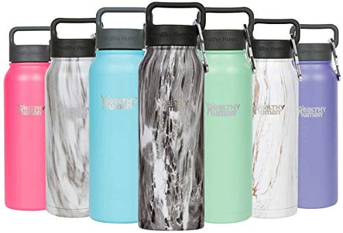 Healthy Human Insulated Stainless Steel Water Bottle Stein - Cold 24 Hours/Hot 12 Hours - Double Walled Vacuum Flask with Hydro Guide & Carabiner - 21 oz Stone Black (Bottles Twenty)