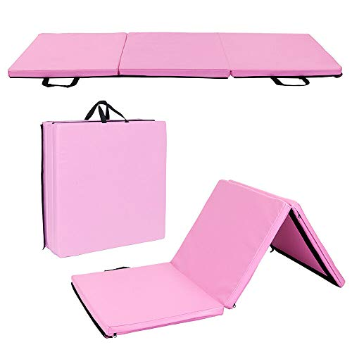 thebestshop99 Heavy Duty Folding Mat Thick Foam Fitness Exercise Gymnastics Yoga Tri Panel Gym Workout Pink 55″ x 24″