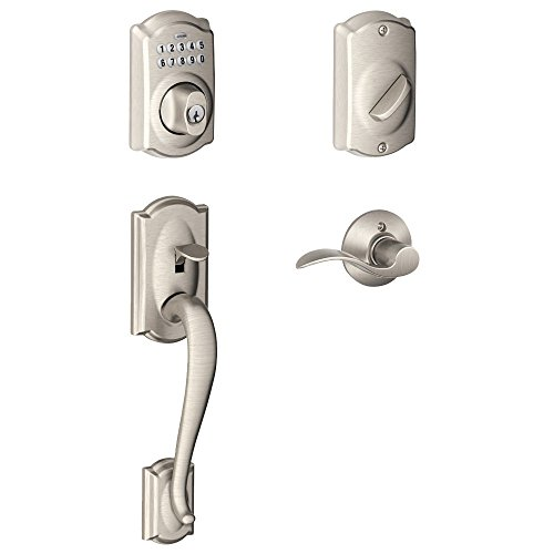 Schlage FE365 V CAM 619 ACC Camelot Keypad Deadbolt with Camelot Outer Grip and Accent Lever Interior, Satin - Handleset Entry Grip