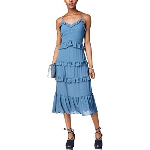 Michael Michael Kors Womens Adjustable Straps Ruffled Midi Dress Blue L (Michael Kors Blau Flieger)