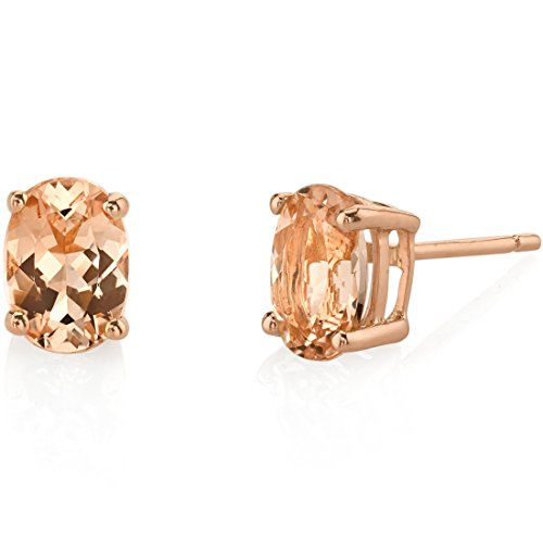14K Rose Gold Oval Shape 1.50 Carats Morganite Stud (1.50 Carats Oval Shape)