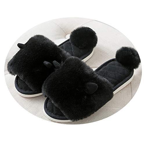 Caliente Antideslizante negro Las Zapatillas Plataforma De Las Invierno Mujeres Shoes Algodón Hogar Casero 2018 De Felpa Interior De Caliente ZpnxSW8U