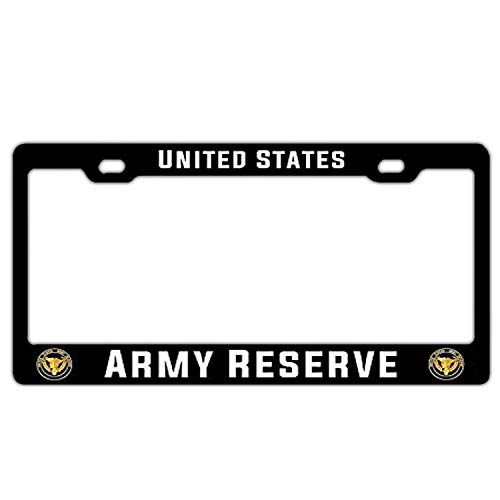 US Army Reserve United States Universal License Plate Frame Black, Metal Black License Plate Frame for Standard Size US Car