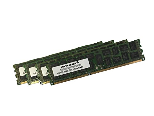 32GB (4 X 8GB) Memory for Dell PowerEdge T310 Quad Rank ECC Registered DIMM (PARTS-QUICK BRAND)