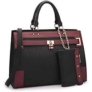 Women s Two Tone Fashion Handbag For Women Top Handle Satchel Bag Padlock Designer  Purse With Matching Wristlet 71b187ce9c721