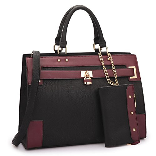 Women's Two Tone Fashion Handbag For Women Top Handle Satchel Bag Padlock Designer Purse With Matching Wristlet ()