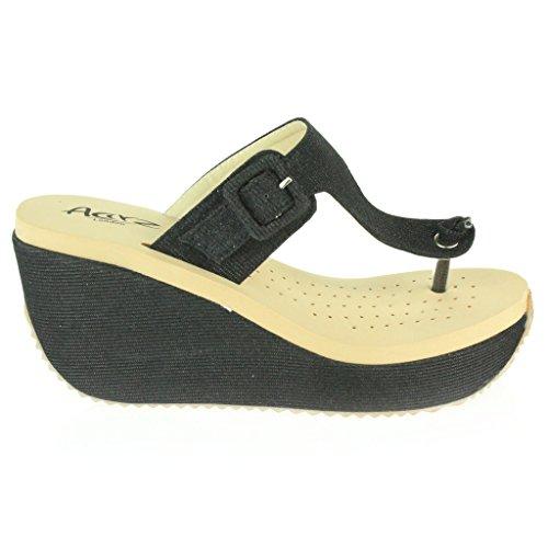 Mujer Señoras Toe Post Ajustable Talle grande Cada día Casual Comfort Ponerse Tacón de cuña Sandalias Zapatos Tamaño Negro