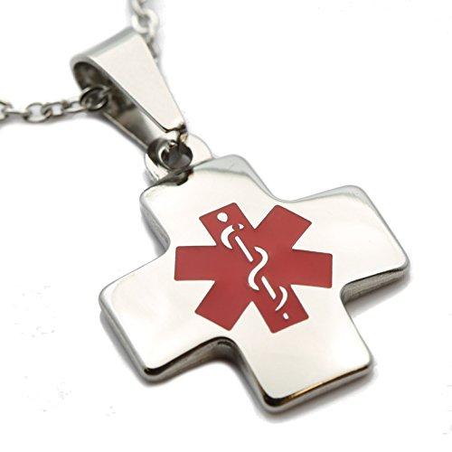 MJ Metals Jewelry Custom Laser Engraved Cross Shaped Medic Alert Pendant 2.4 cm X 2 cm