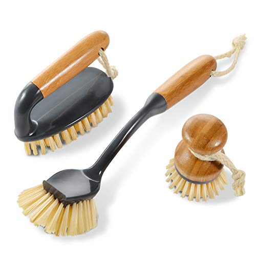 3PCS Household Bamboo Brushes Kitchen and Bathroom Cleaning Brushes,1 Scrub Brush,1 Pan Brush,1 Long Handle Dish Brush Masthome ()