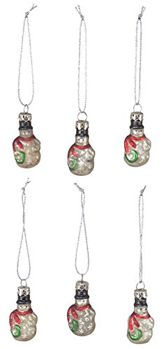 Vintage Style Mini Glass Snowmen Ornaments - 2 inches tall - Set of 6 ()
