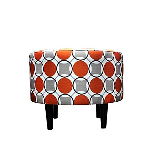 Sole Designs Abstract Halo Series Sophia Collection Round Upholstered Ottoman with Espresso Leg Finish, Orange Grey Finish