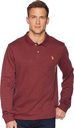 U.S. Polo Assn. Men's Classic Long Sleeve Interlock Polo Shirt, Burgundy Heather, XL by U.S. Polo Assn.