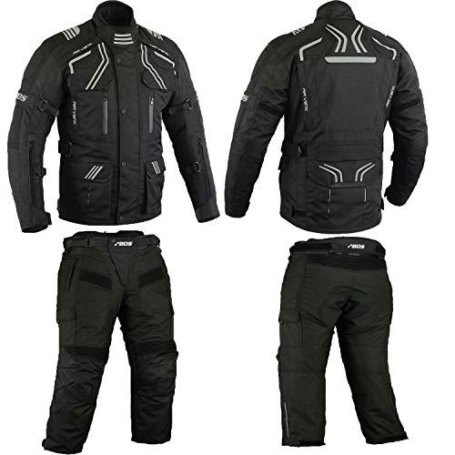 Herren Kombi Motorradbekleidung Biker Anzug Zweiteiler Motorradkombi Schwarz (L)