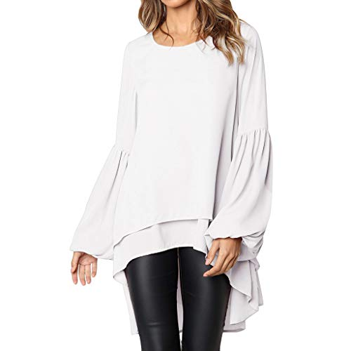 Kstare Women's Spring Plus Size Loose Long Puff Sleeve O-Neck Shirts Solid High Low Double Deck Top Blouse