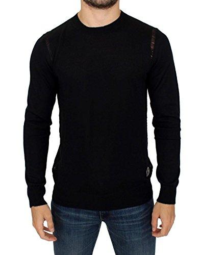 Black Wool Blend Logo Crewneck Pullover Sweater Black Logo Wool Blend