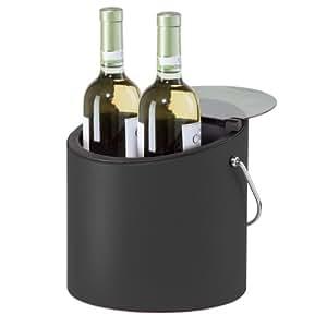Oggi 7425.3 Vinyl Ice and Wine Bucket with Scoop and Flip Lid, Black