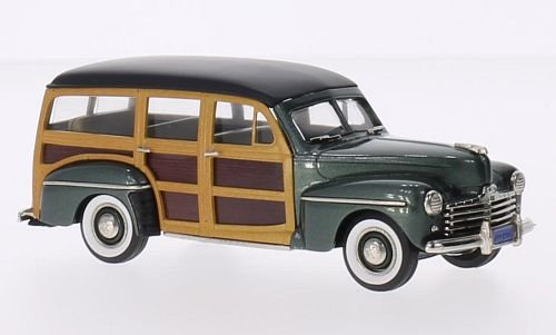 Motors V8 Ford (Ford V8 Station Wagon, metallic-dunkelgrün/wood optics, 1947, Model Car, Ready-made, Brooklin 1:43)