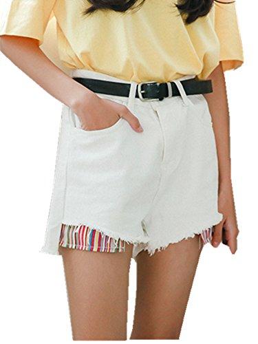 Cystyle Damen Denim Shorts High Waist Hot Pants Vintage Baggy Basic Kurz Jeans Hose Weiß Zaqywv