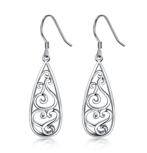 925 Sterling Silver Earrings, BoRuo Filigree Teardrop Earrings ()