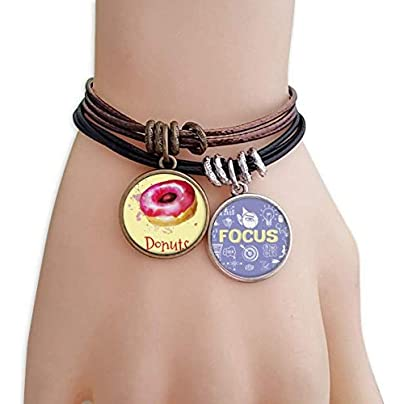 SeeParts Watercolor Hand-painted Pink Doughnut Dessert Bracelet Rope Wristband Force Handcrafted Jewelry Estimated Price £9.99 -