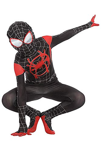 Kids Toddler Spider Verse Miles Morales Gwen Jumpsuit Bodysuit Black Spider Tights Zentai Costume (Miles Morales, Child S/90-110 cm)