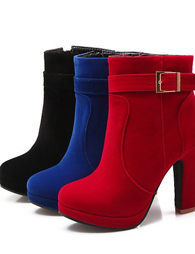 Rojo A Cn34 Redonda us6 Cn37 Zapatos La Xzz 7 5 Tacón Mujer Moda Robusto us5 5 Eu35 Black Negro Botas Red Vestido Punta Vellón Azul De 5 Uk3 Uk4 Casual Eu37 cUaYAYqxw8