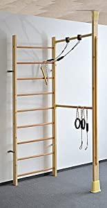 Kletterdschungel Holz Sprossenwand Indoor Sportgerät mit Reck (210 x 83 cm...