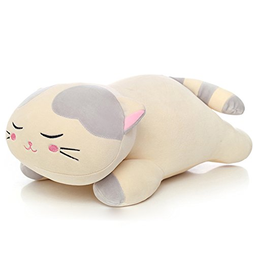 "Lazada Plush Cat Stuffed Kitty Super Soft Animal Pillows for Kids Adult Toys 18"" (Gray)"