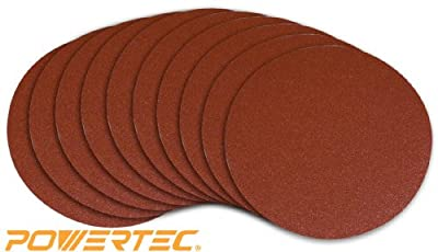 POWERTEC 110550 8-Inch PSA 80 Grit Aluminum Oxide Self Stick Sanding Disc, 10-Pack from POWERTEC