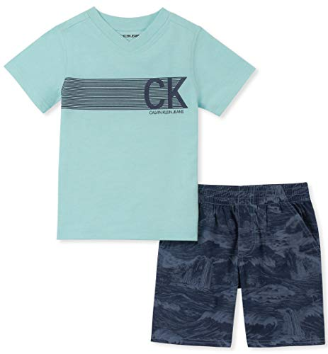 Calvin Klein Boys' Little 2 Pieces Shorts Set, Aqua/Blue, 5 -