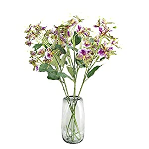 Skyseen 3Pcs Artificial Jewelweed Flower Fake Garden Balsam Plant for Floral Arrangements 8