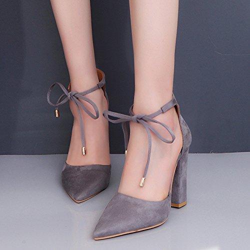 à Gris Chaussures Femmes pour Style 40 Rétro Talons Hauts Chaussures FqZXFw