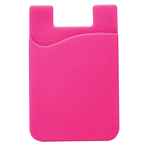 Hot Pink Cell Phone - MChoice Adhesive Silicone Credit Card Pocket Money Pouch Holder Case for Cell Phone (Hot Pink)