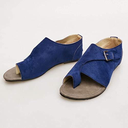 Rond En Boucle Fangxiang Couleur Femmes Bleu Strap Mode Ouvert Plates Toe toe Air Plein Sandales Clip Pure qtOHt