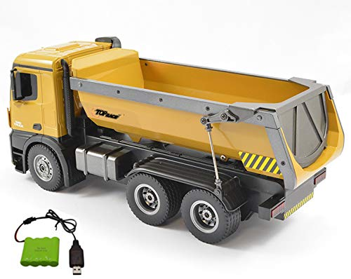 Top Race Remote Control Construction Dump Truck, RC Dump Truck Toy, Construction Toys Vehicle, RC Truck Toys, Big Heavy Duty Metal Construction Truck 1:14 Scale, 22 LBS Load Capacity TR-212 by Top Race (Image #5)