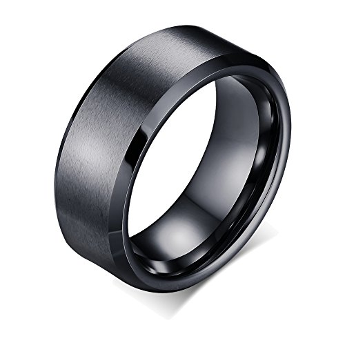 FANSING Couples 8mm Wedding Bands, Tungsten Ring, Mens Black Rings Womens, Size 9