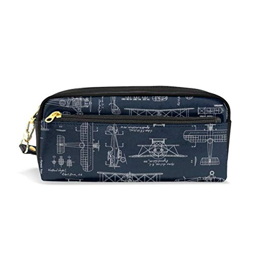 KEIOO Aviation Aviators Transportation Blue Pencil Case Large Capacity Pen Bag Makeup Pouch Durable Students Stationery Two Big Pockets with Zipper ()