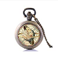 Astronomical Globe Pocket Watch Necklace, Glass Pendants, Vintage Astronomy Science Jewelry