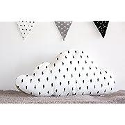 Cloud Pillow, Soft Pillow, Decorative Cloud Pillow, Nursery Decoration, Black Lightning Bolt White, Gender Netural Nursery