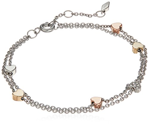 Fossil Women's Heart Tri-Tone Stainless Steel Double-Chain Bracelet