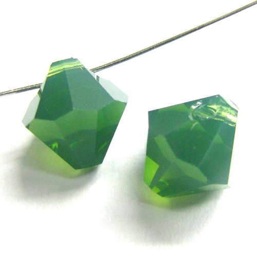 6 pcs Swarovski Crystal 6301 Top Drilled Bicone Pendant Bead Palace Green Opal 8mm / Findings / Crystallized Element