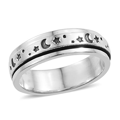 925 Sterling Silver Handmade Stars Moon Statement Spinner Ring Size 6 for Women