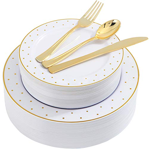 200pcs Gold Plastic Dinnerware, White Disposable Plates with Gold Printing, Gold Plastic Silverware Include 40 Dinner Plates, 40 Salald Plates, 40 Knives, 40 Forks, 40 Spoons, Supernal (Dinnerware Dot Gold)