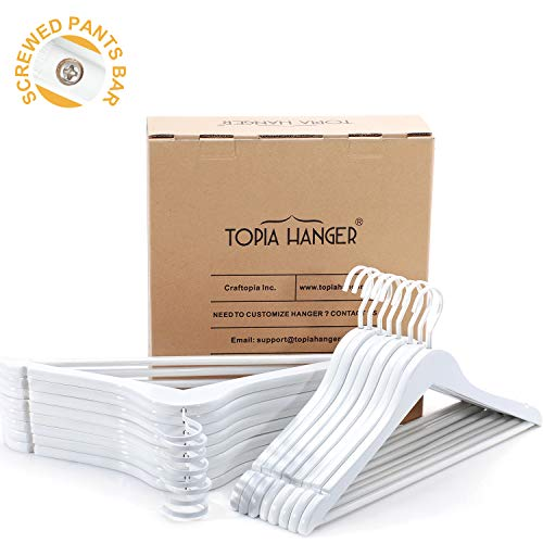 (TOPIA HANGER Extra Strong White Wooden Suit Hangers, Luxury Wood Coat Hangers, Glossy Finish with Extra Thick Hooks&Anti-Slip Bar 16-Pack CT01W)