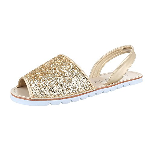 Ital-Design Women's Roman sandals Gold 9zVRT12s